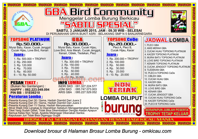 Brosur Lomba Burung Berkicau Sabtu Spesial GBA Community, Banjarnegara, 3 Januari 2015
