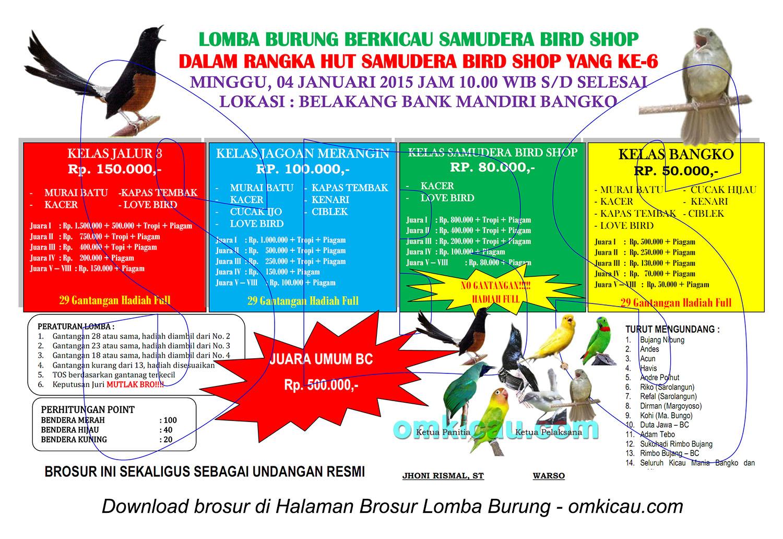 Brosur Lomba Burung Berkicau Samudera Bird Shop, Bangko, 4 Januari 2015