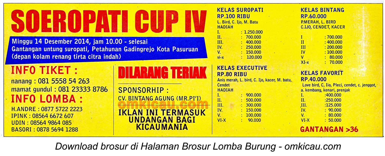 Brosur Lomba Burung Berkicau Soeropati Cup IV, Pasuruan, 14 Desember 2014