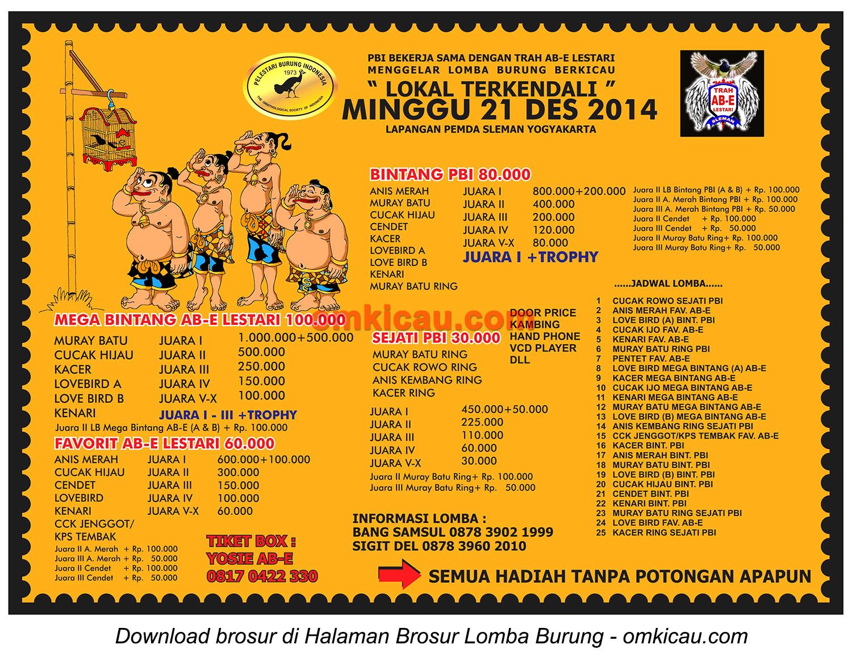 Brosur Lomba Burung Berkicau Trah AB-E Lestari, Jogja, 21 Desember 2014