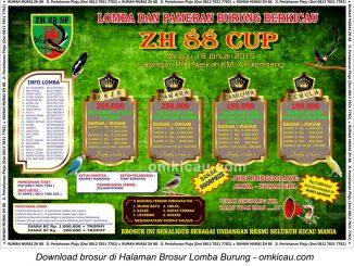 Brosur Lomba Burung Berkicau ZH 88 Cup, Palembang, 18 Januari 2015