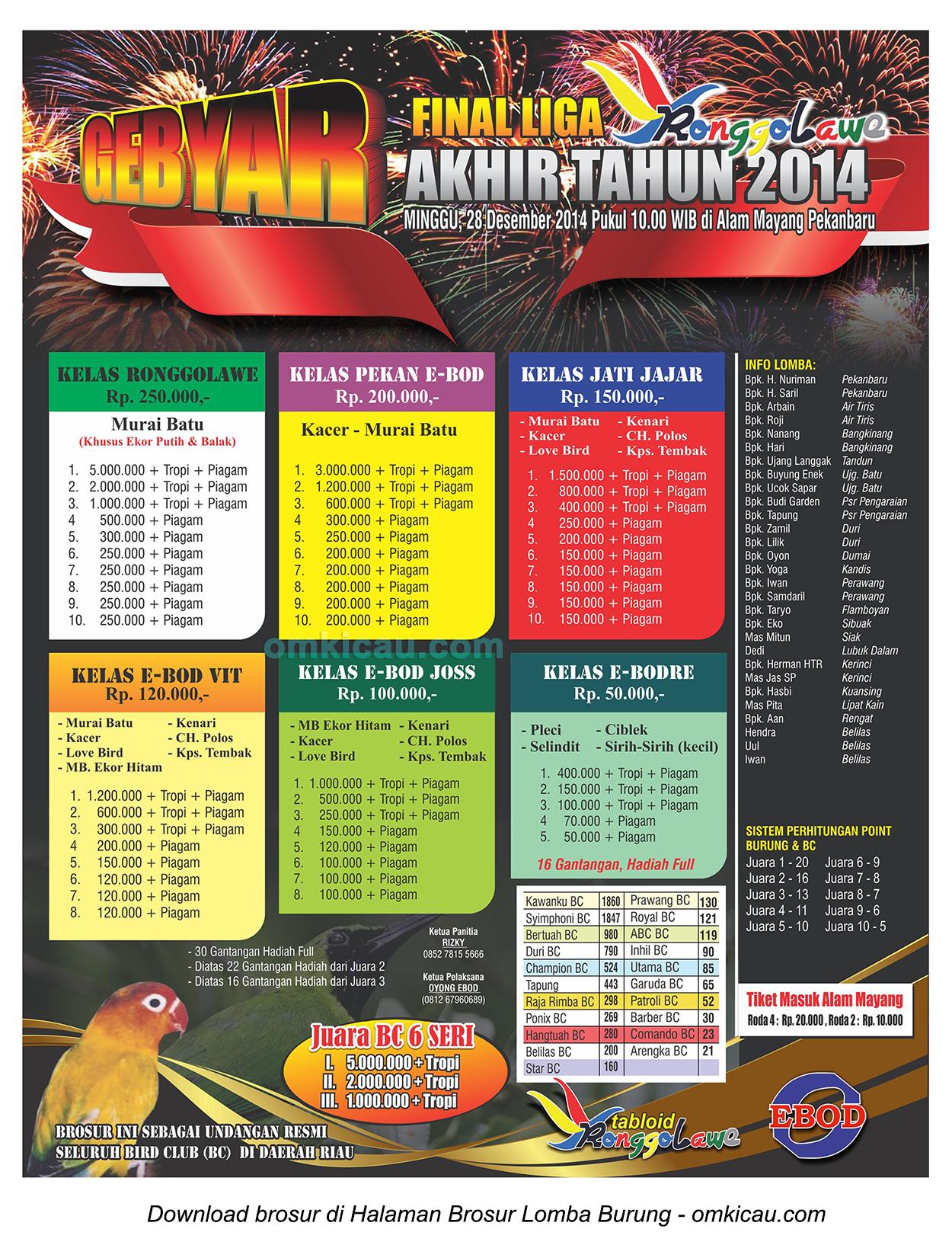 Brosur Lomba Burung Grand Final Liga Akhir Tahun Ronggolawe, Pekanbaru, 28 Desember 2014