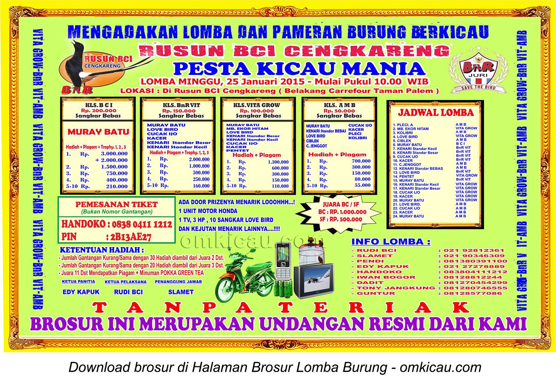 Brosur Lomba Burung Pesta Kicaumania Rusun BCI Cengkareng, Jakarta, 25 Januari 2015.