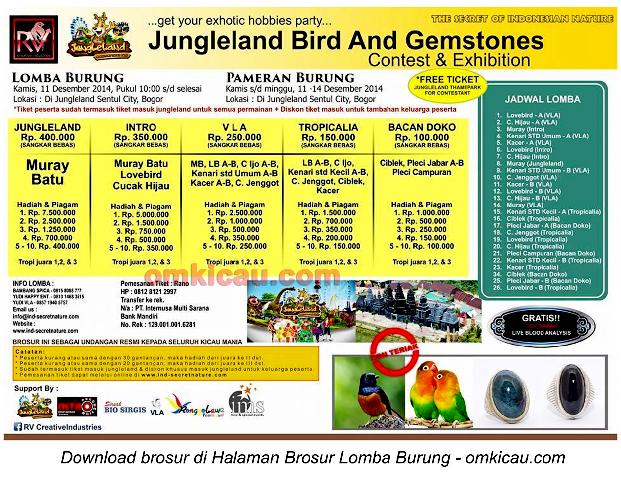 Brosur Lomba Jungleland Bird and Gemstones, Bogor, 11 Desember 2014