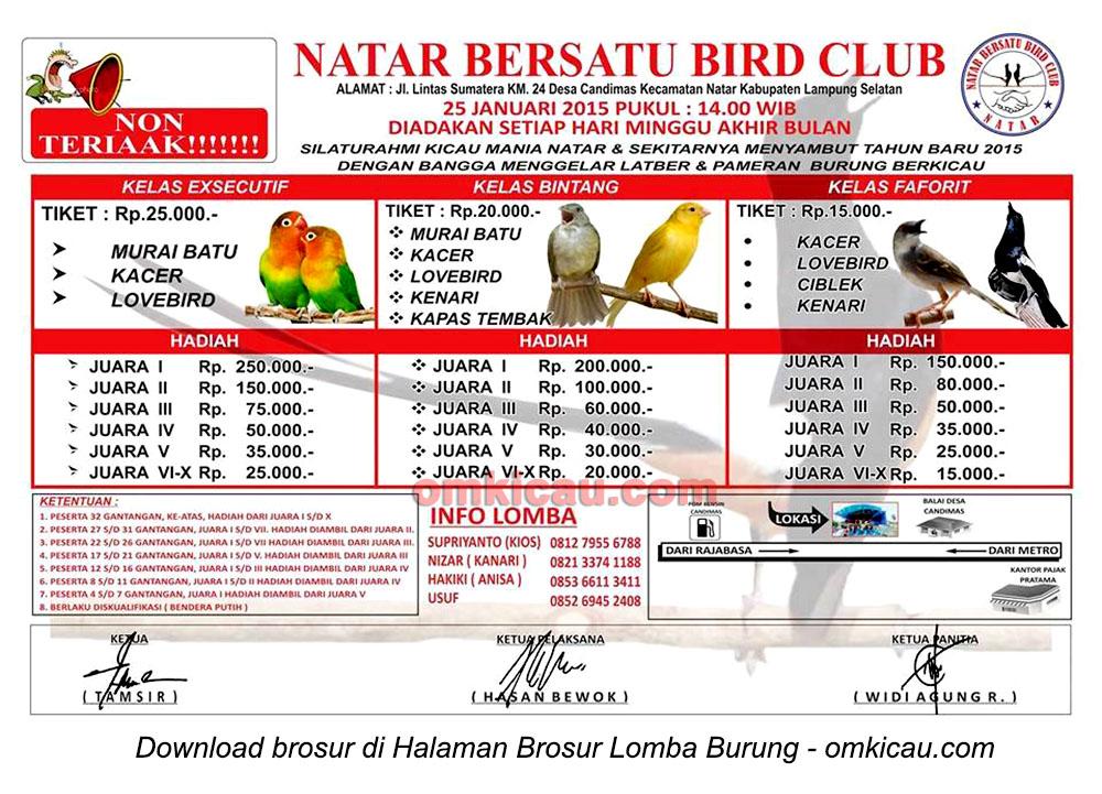 Brosur Latber Burung Berkicau Natar Bersatu BC, Lampung Selatan, 25 Januari 2015