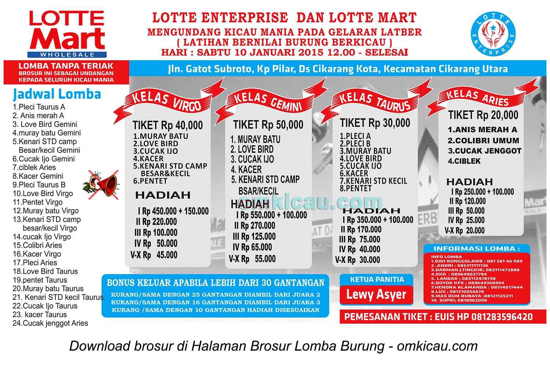 Brosur Latber Lotte Enterprise, Bekasi, 10 Januari 2015