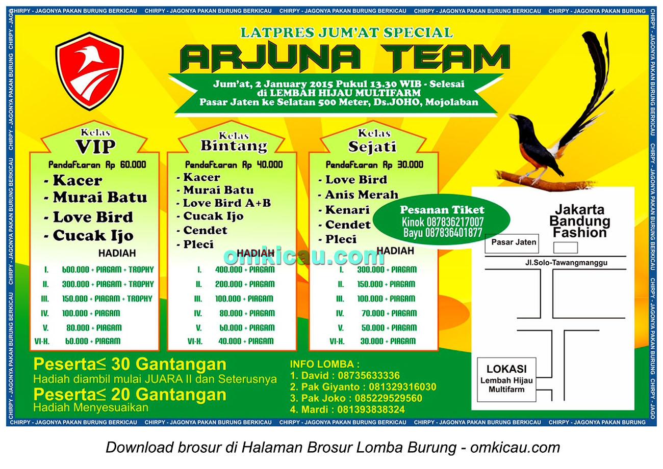 Brosur Latpres Burung Berkicau Jumat Special Arjuna Team, Sukoharjo, 2 Januari 2015
