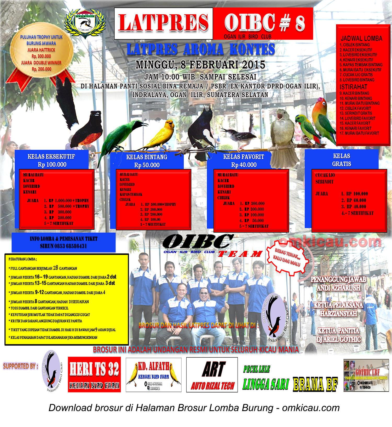 Brosur Latpres Burung Berkicau OIBC #8, Ogan Ilir, 8 Februari 2015