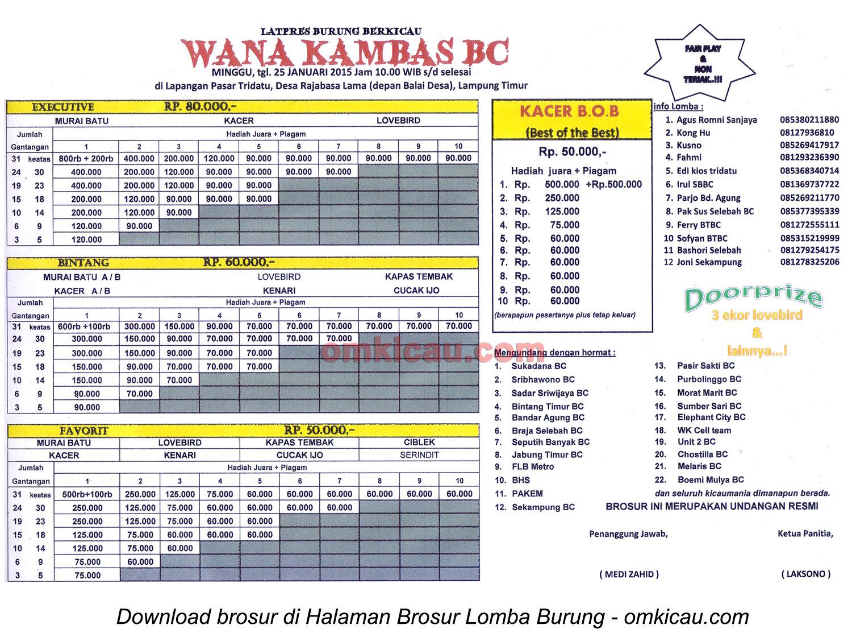 Brosur Latpres Burung Berkicau Wana Kambas BC, Lampung Timur, 25 Januari 2015