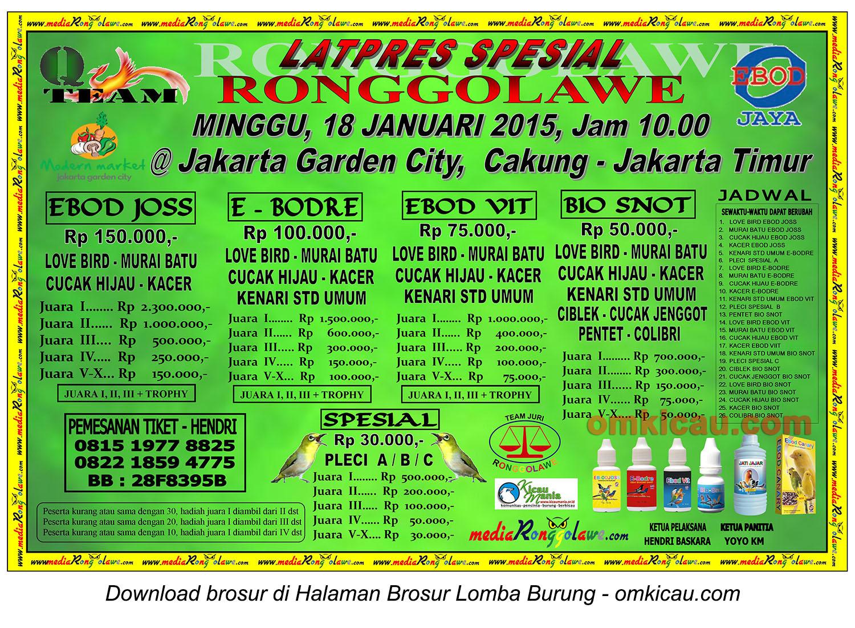 Brosur Latpres Spesial Ronggolawe, Jakarta Timur, 18 Januari 2015