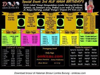 Brosur Lomba Burung Berkicau 3rd Alif Naga Birthday's, Bogor, 29 Januari 2015
