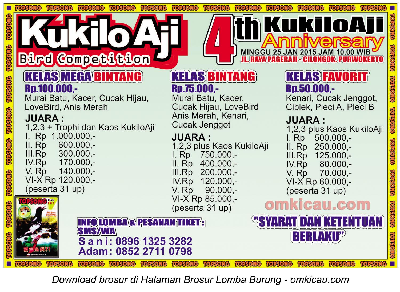 Brosur Lomba Burung Berkicau 4th Anniversary Kukilo Aji, Purwokerto, 25 Januari 2015