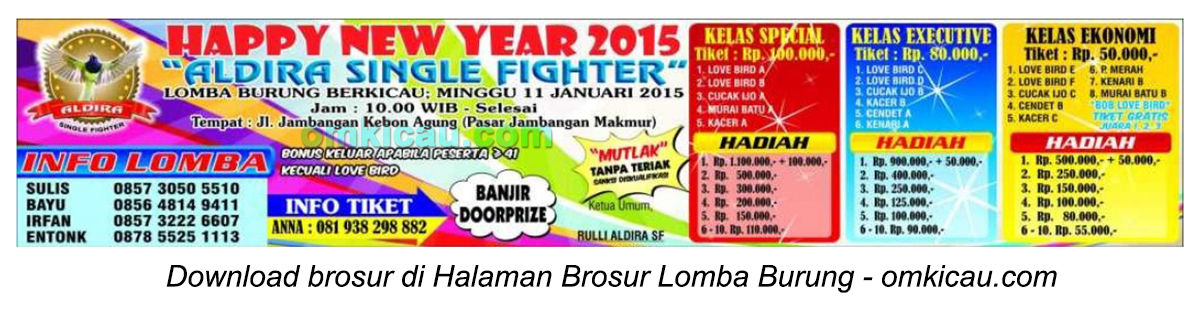 Brosur Lomba Burung Berkicau Aldira Single Fighter, Surabaya, 11 Januari 2015