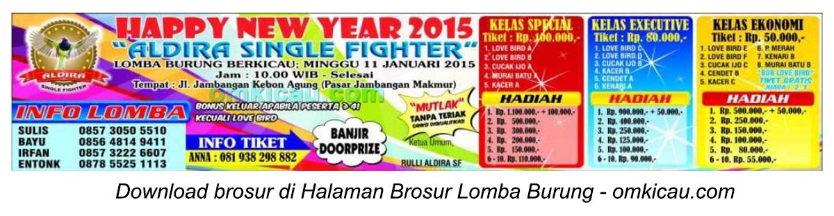 Brosur Lomba Burung Berkicau Aldira Single Fighter, Surabaya, 11 Januari 2015