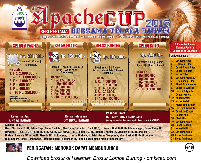 Brosur Lomba Burung Berkicau Apache Cup Seri I, Surabaya, 8 Februari 2015