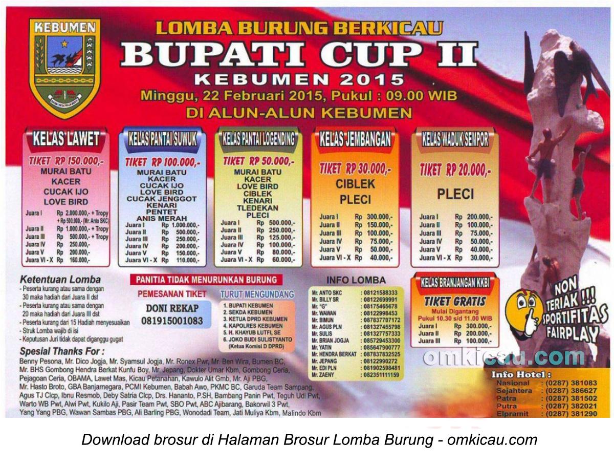 Brosur Lomba Burung Berkicau Bupati Cup II - Kebumen, 22 Februari 2015