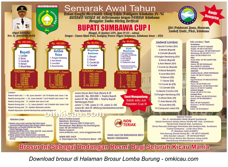 Brosur Lomba Burung Berkicau Bupati Sumbawa Cup I, Sumbawa Besar, 18 Januari 2015