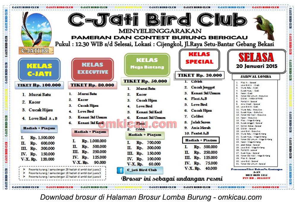 Brosur Lomba Burung Berkicau C-Jati Bird Club, Bekasi, 20 Januari 2015