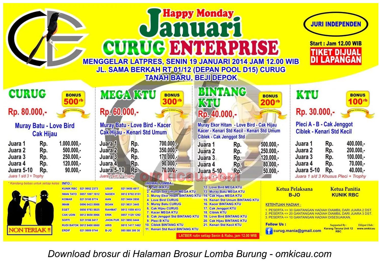Brosur Lomba Burung Berkicau Curug Enterprise, Depok, 19 Januari 2015