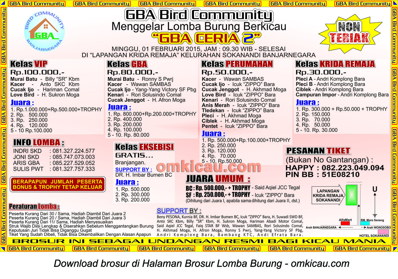 Brosur Lomba Burung Berkicau GBA Ceria 2, Banjarnegara, 1 Februari 2015
