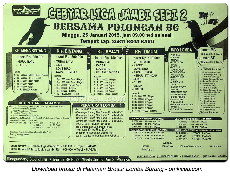 Brosur Lomba Burung Berkicau Gebyar Liga Jambi Seri 2, Jambi, 25 Januari 2015
