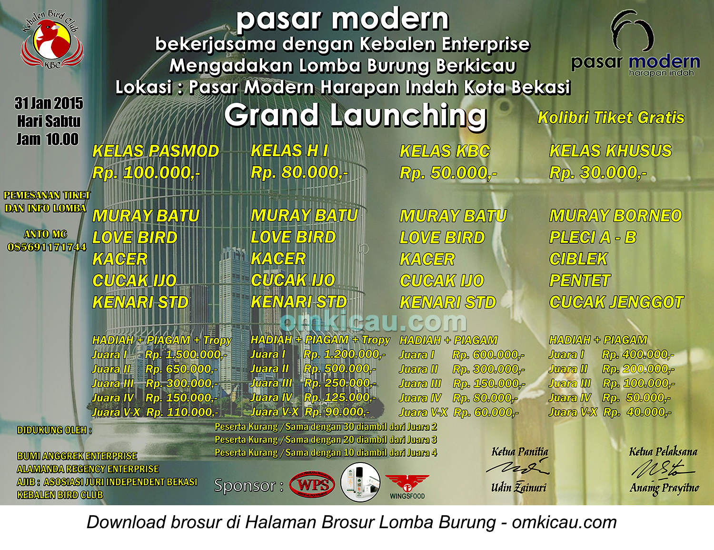 Brosur Lomba Burung Berkicau Grand Launching Pasar Modern, Bekasi, 31 Januari 2015