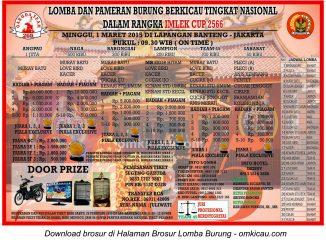 Brosur Lomba Burung Berkicau Imlek 2566 Cup - Garuda Team, Jakarta, 1 Maret 2015