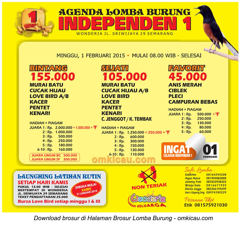 Brosur Lomba Burung Berkicau Independen 1, Semarang, 1 Februari 2015