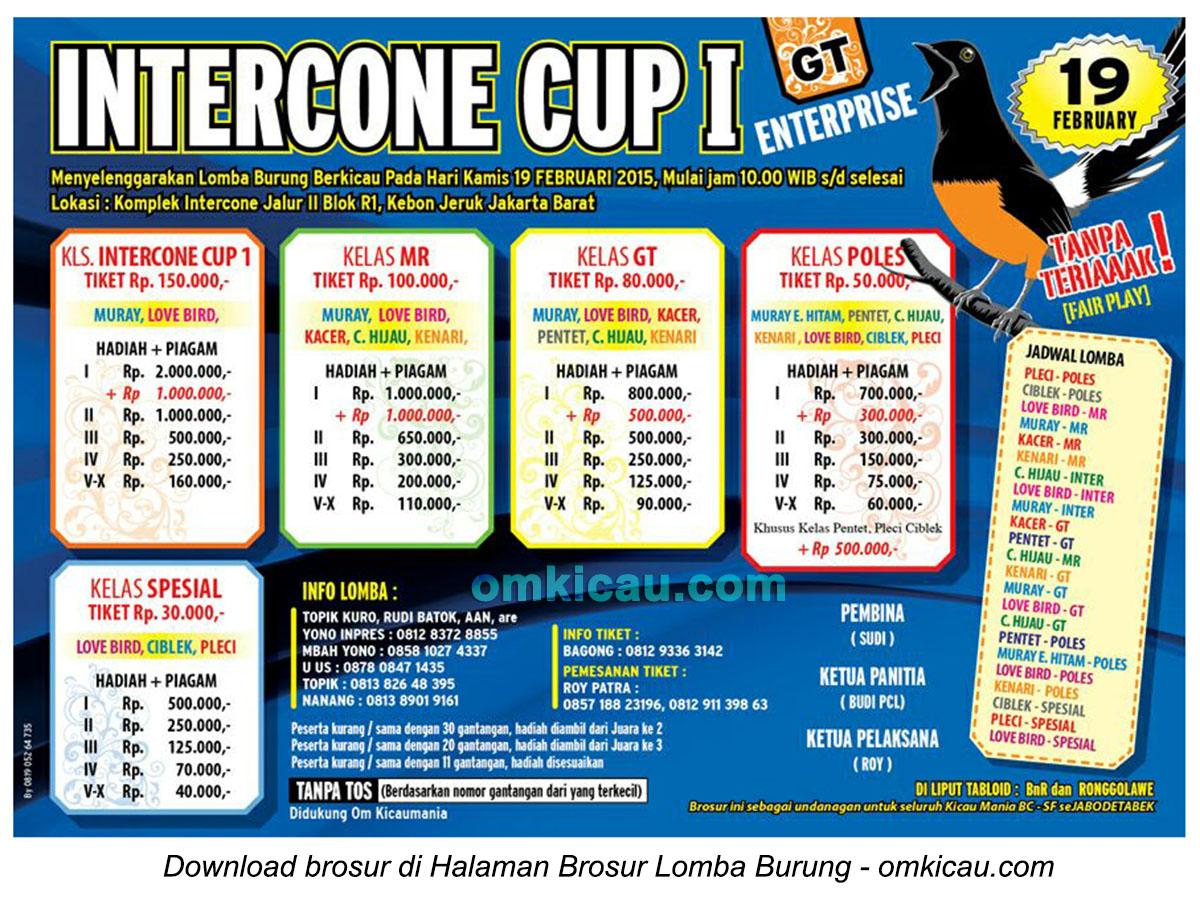 Brosur Lomba Burung Berkicau Intercone Cup I, Jakarta Barat, 19 Februari 2015