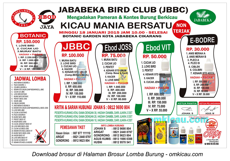 Brosur Lomba Burung Berkicau JBBC, Cikarang, 18 Januari 2015