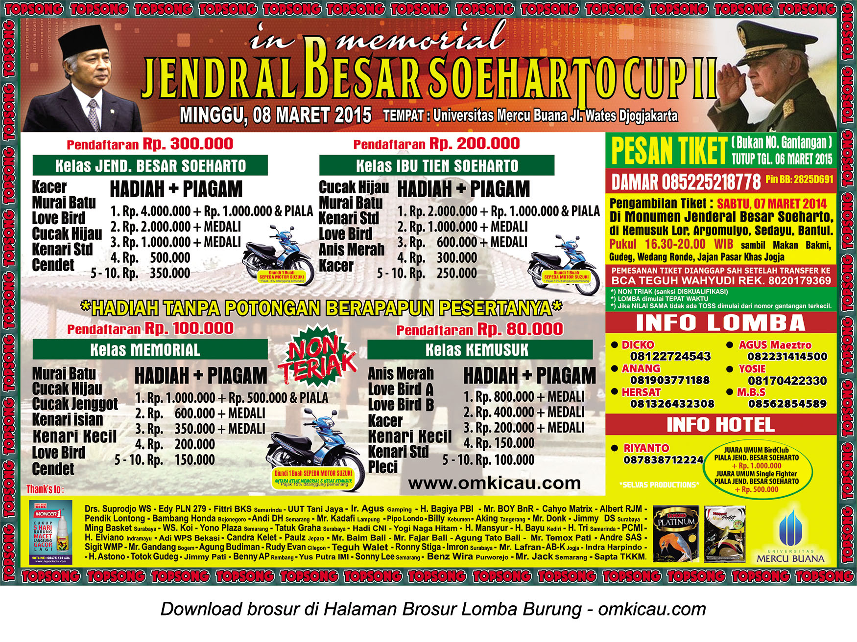 Brosur Lomba Burung Berkicau Jendral Besar Soeharto Cup II, Jogja, 8 Maret 2015