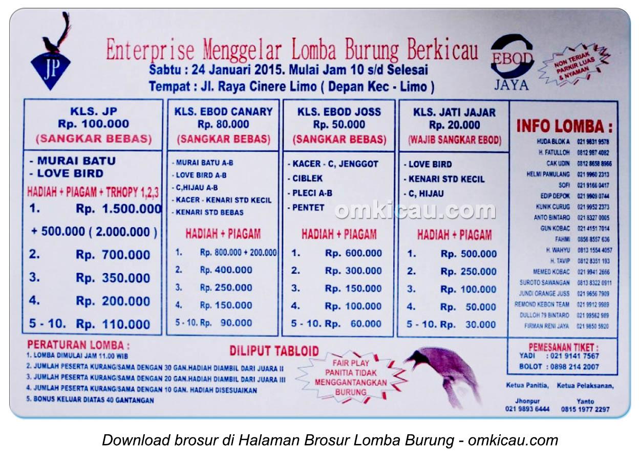 Brosur Lomba Burung Berkicau JP Enterprise, Depok, 24 Januari 2015