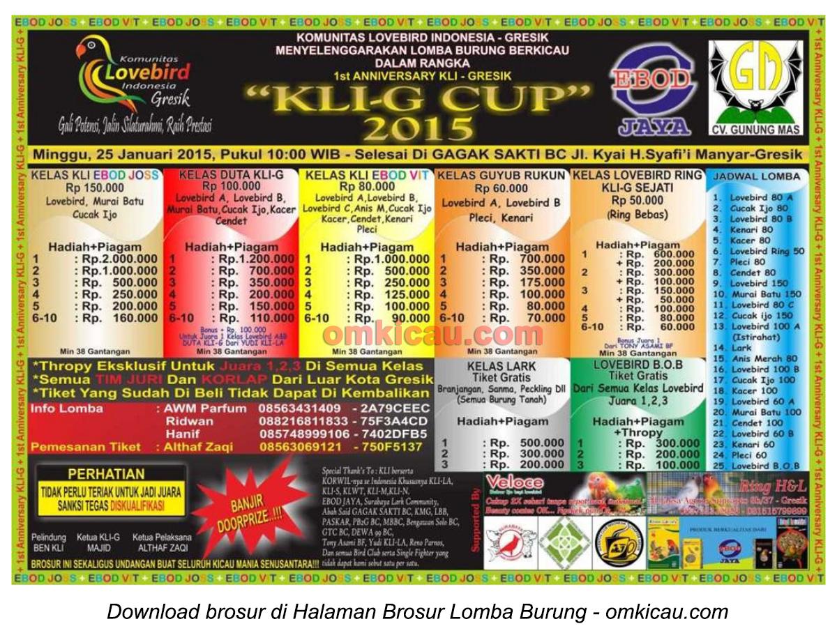 Brosur Lomba Burung Berkicau KLI-G Cup, Gresik, 25 Januari 2015