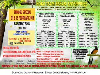 Brosur Lomba Burung Berkicau Koko Team, Bekasi, 1&15 Februari 2015