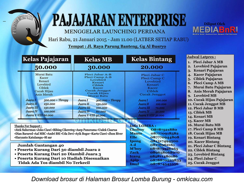 Brosur Lomba Burung Berkicau Launching Pajajaran Enterprise, Bogor, 21 Januari 2015
