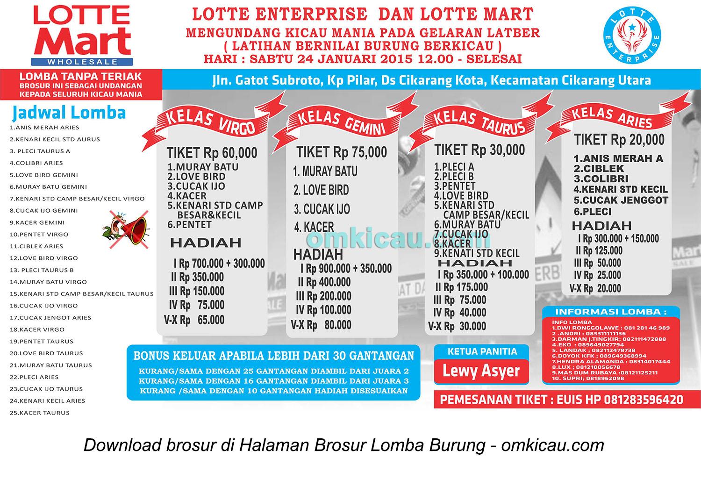 Brosur Lomba Burung Berkicau Lotte Enterprise, Bekasi, 24 Januari 2015