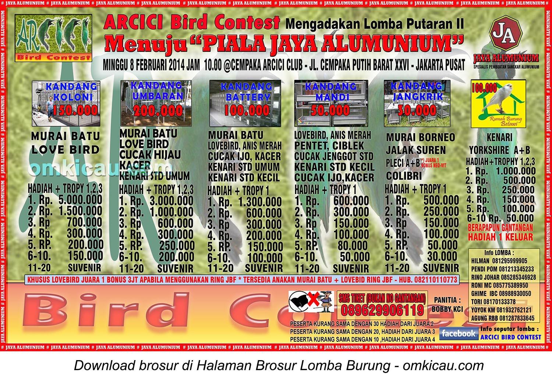 Brosur Lomba Burung Berkicau Menuju Piala Jaya Alumunium Putaran II, Jakarta, 8 Februari 2015