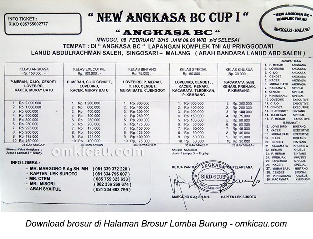 Brosur Lomba Burung Berkicau New Angkasa BC Cup I, Malang, 8 Februari 2015