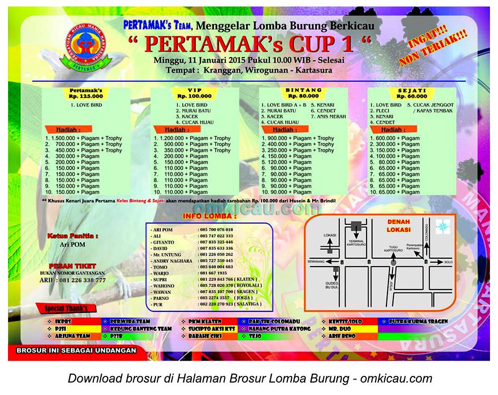 Brosur Lomba Burung Berkicau Pertamak's Cup 1, Kartasura, 11 Januari 2015