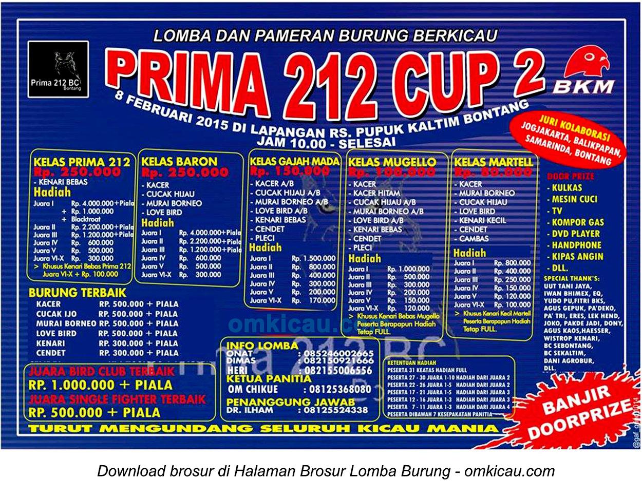 Brosur Lomba Burung Berkicau Prima 212 Cup 2, Bontang, 8 Februari 2015