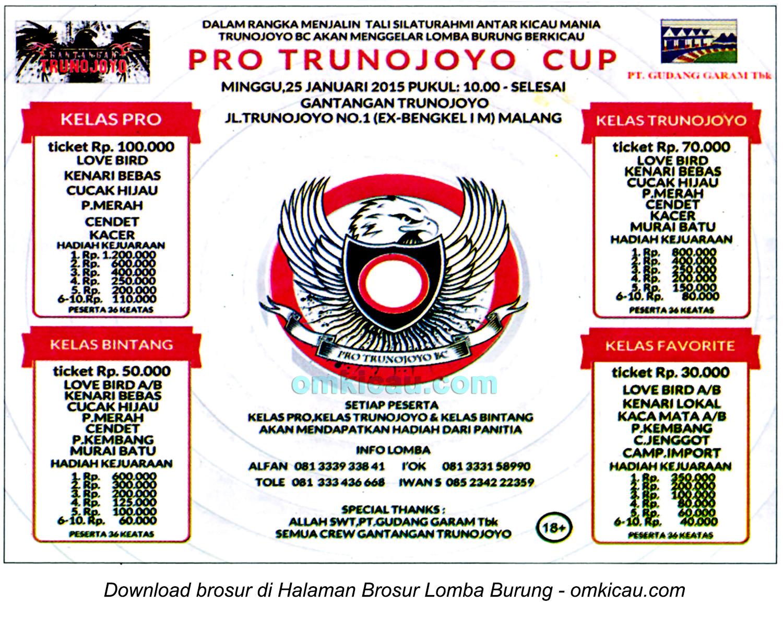 Brosur Lomba Burung Berkicau Pro Trunojoyo Cup, Malang, 25 Januari 2015