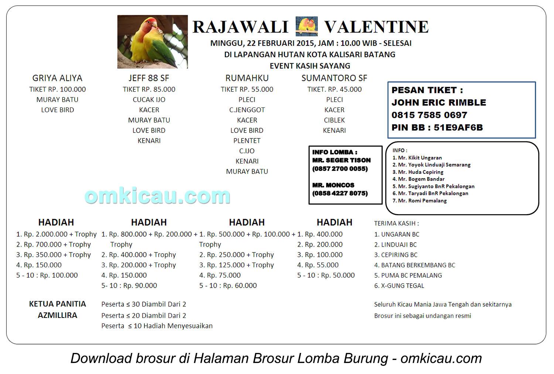 Brosur Lomba Burung Berkicau Rajawali Valentine, Batang, 22 Februari 2015