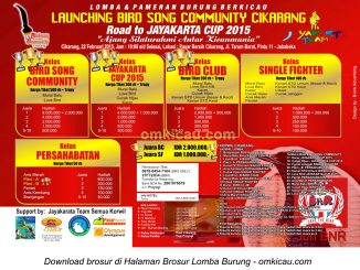 Brosur Lomba Burung Berkicau Road to Jayakarta Cup, Cikarang, 22 Februari 2015