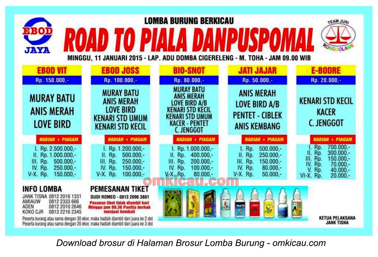 Brosur Lomba Burung Berkicau Road to Piala Danpuspomal, Bandung, 11 Januari 2015