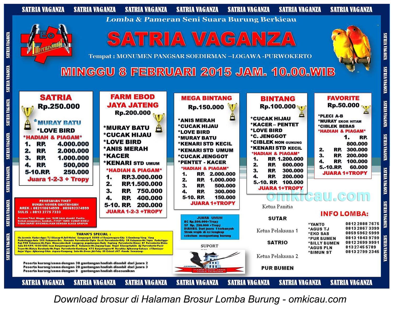Brosur Lomba Burung Berkicau Satria Vaganza, Purwokerto, 8 Februari 2015