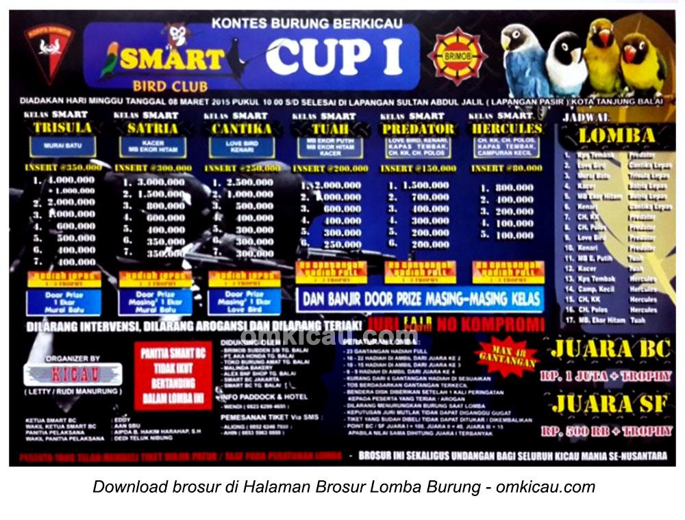 Brosur Lomba Burung Berkicau Smart BC Cup I, Kota Tanjungbalai, 8 Maret 2015