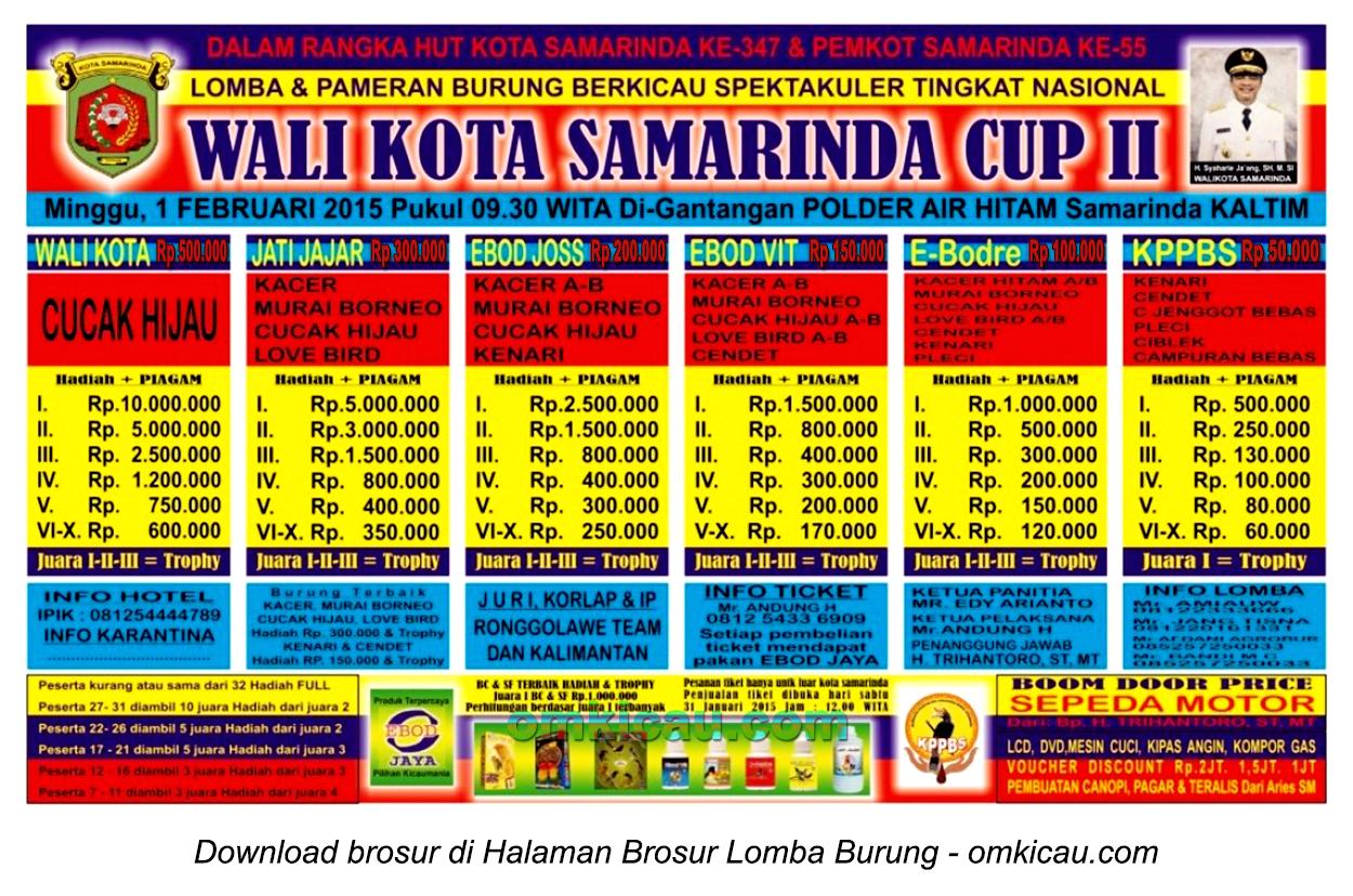 Brosur Lomba Burung Berkicau Wali Kota Samarinda Cup II, Samarinda, 1 Februari 2015