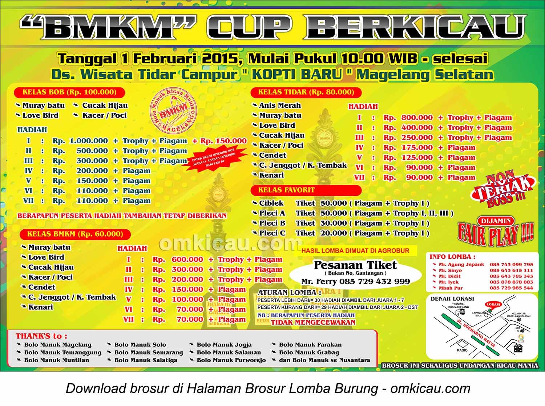 Brosur Lomba Burung BMKM Cup Berkicau, Magelang, 1 Februari 2015