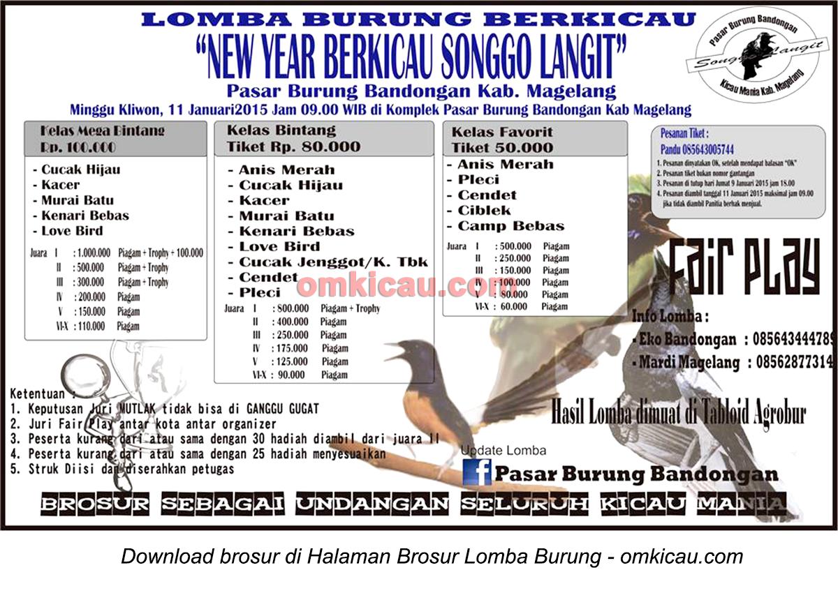Brosur Lomba Burung New Year Berkicau Songgo Langit, Magelang, 11 Januari 2015