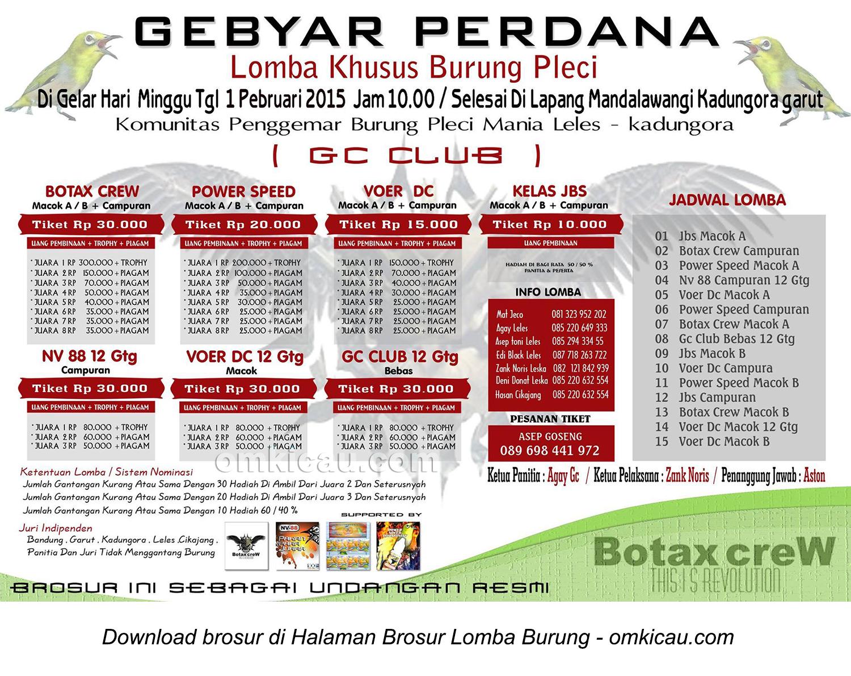 Brosur Lomba Burung Pleci Gebyar Perdana GC Club, Garut, 1 Februari 2015